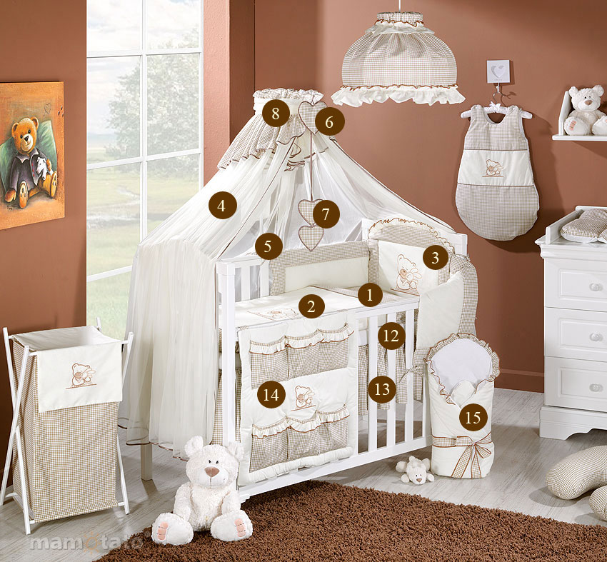 baby bettw sche bettset a 15tlg f r babybett moskitonetz himmel ebay. Black Bedroom Furniture Sets. Home Design Ideas