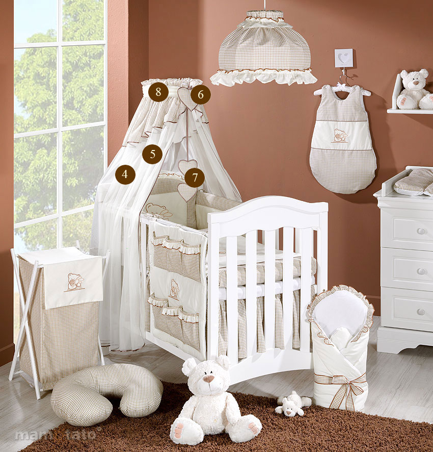 baby bettw sche bettset mit stickerei a 8tlg f r kinderbett 70x140 chiffonhimmel ebay. Black Bedroom Furniture Sets. Home Design Ideas