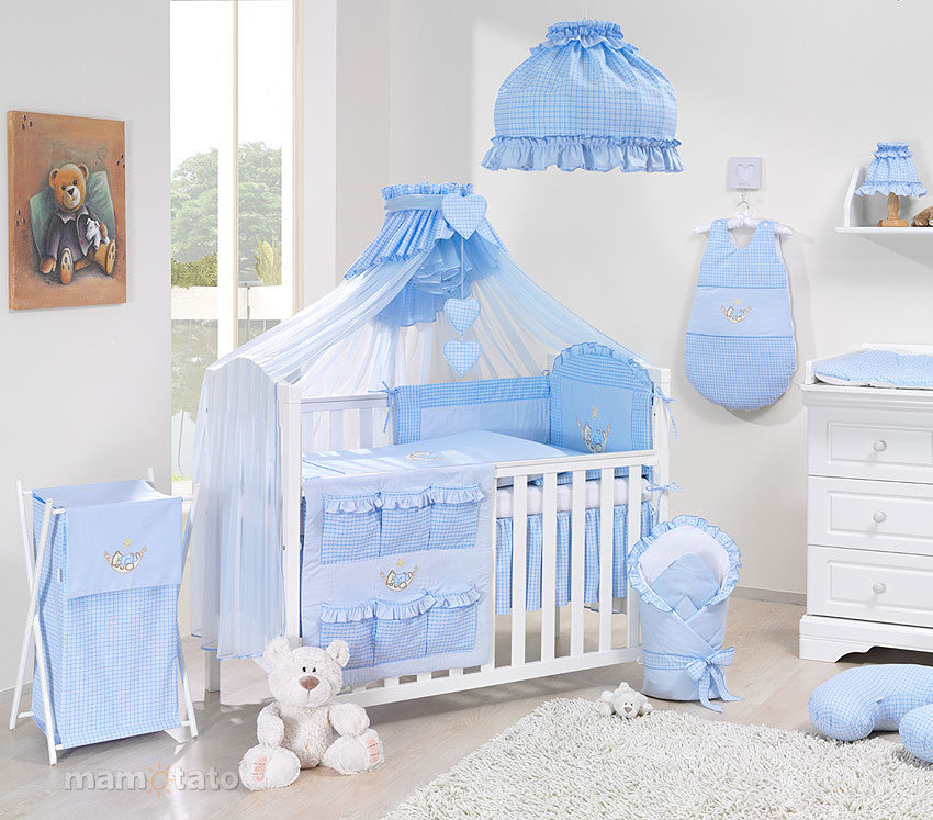 baby bettw sche bettset mit stickerei a 7tlg f r kinderbett 70x140 moskitonetz ebay. Black Bedroom Furniture Sets. Home Design Ideas